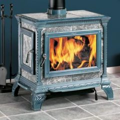 Beautiful Soapstone stove in Seafoam Greem porcelain finish